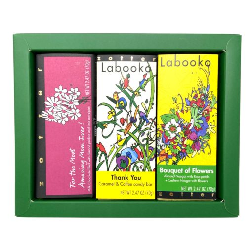 """Set  """"Flowers for Mom"""" in green gift box"""