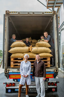 Cocoa beans are delivered