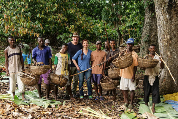 Josef and Julia Zotter with cocoa farmers in Madagascar